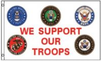 We Support Our Troops Logo Flag
